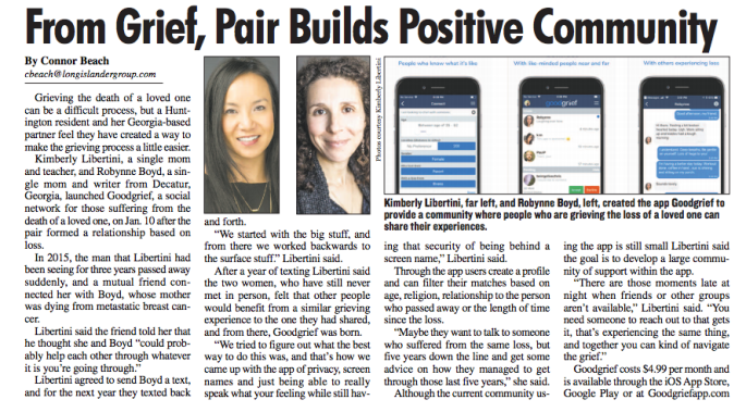 Goodgrief App From Grief Pair Builds Positive Community